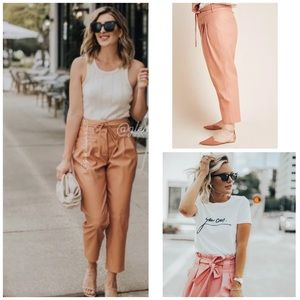 ANTHROPOLOGIE pink paperback leather tapered pants